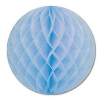 Club Pack of 24 Light Blue Honeycomb Hanging Tissue Ball Decorations 12""