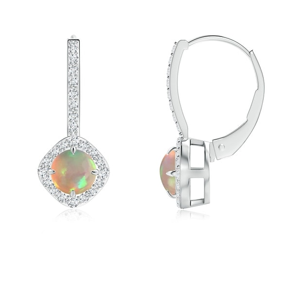 Angara Round Opal Diamond Halo Dangle Earrings in White Gold 8thpYJMS
