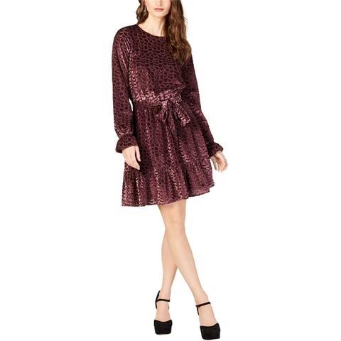 Michael Kors Womens Velvet Tie Waist Flounce Dress