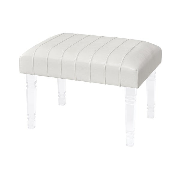 "23.75"" White Hand-Pleated and Stitched Faux Leather Top Ottoman with Clear Acrylic Legs - N/A"