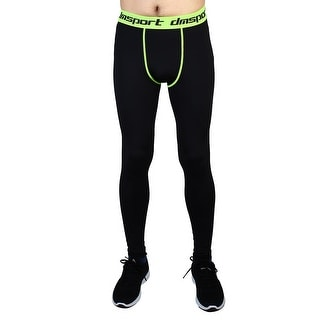 Men Sports Compression Tights Running Long Pants Fluorescence Green W32