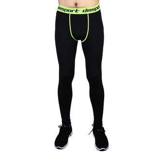 Men Sports Compression Tights Running Long Pants Fluorescence Green W38