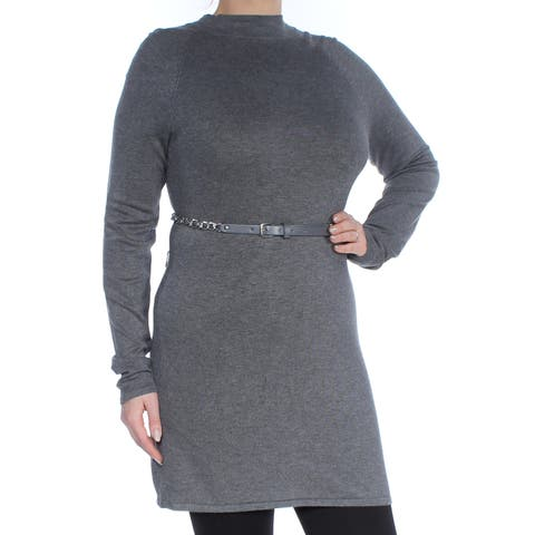 INC Womens Gray Belted Pleated Long Sleeve Turtle Neck Above The Knee Sheath Wear To Work Dress Size: L