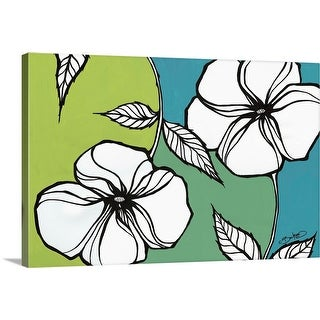 """Flowers in Unity - Teal"" Canvas Wall Art"