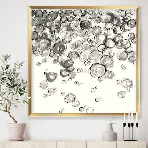 Designart 'Simple Bubbles IV' Mid-Century Modern Premium Framed Art Print