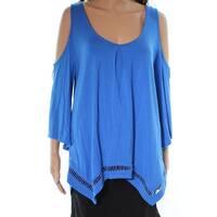 Green Dragon Blue Womens Size Medium M Cold Shoulder Knit Top