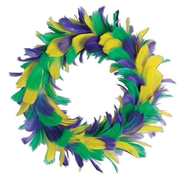 """Pack of 6 Yellow Purple and Green Mardi Gras Party Decorative Feather Wreath 8"""""""