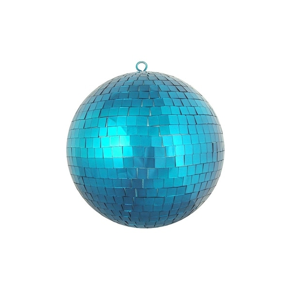 "Peacock Blue Mirrored Glass Disco Ball Christmas Ornament 8"" (200mm)"