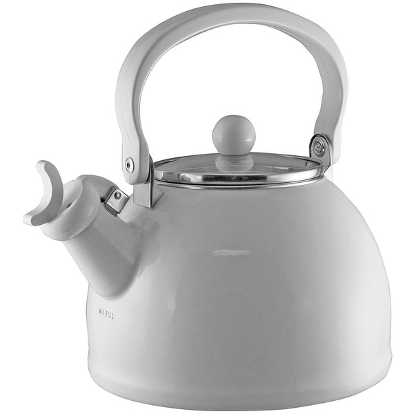Calypso Basics by Reston Lloyd Harmonic Hum Whistling Teakettle with Glass Lid, 2.2-Quart, White