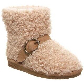 Bearpaw Girls' Treasure Bootie Taupe Faux Fur