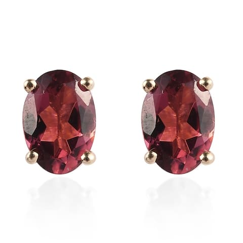 Shop LC Yellow Gold Oval Rubellite Stud Elegant Earrings Cttw 1