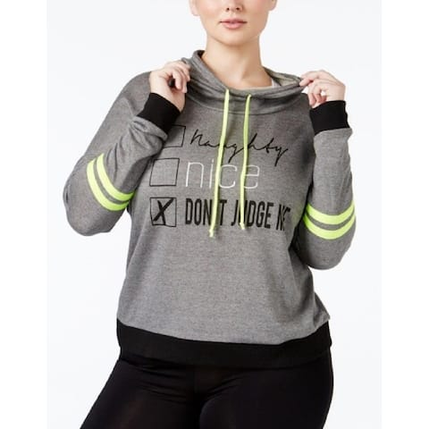 Material Girl Women's Active Plus Size Graphic Hoodie (Grey, 1XL) - Don't Judge Me/Charcoal - 1X-Large