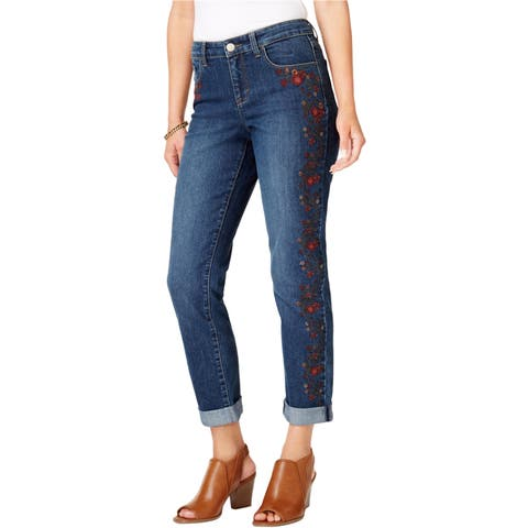 Style & Co. Womens Embroidered Boyfriend Fit Jeans - 12