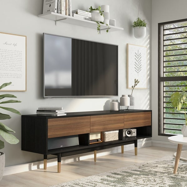 Carson Carrington Uddvide Black and Brown 71-inch 3-shelf TV Console. Opens flyout.