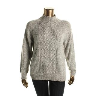 Karen Scott Womens Marled Funnel Neck Pullover Sweater