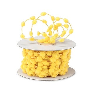 Pack Of 1, Yellow Wired Pom Pom Cord 25 Yards w/Matching Color Wire As Great Packaging Decoration