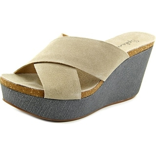 Splendid Grand Women Open Toe Suede Wedge Sandal