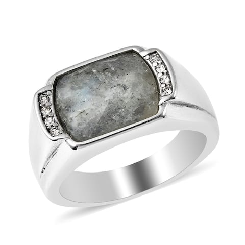 Stainless Steel Labradorite White Crystal Ring Men Size 12 Ct 4.9