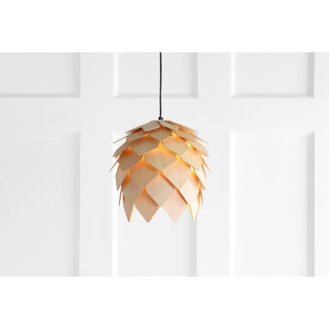 "Simon 11.75"" Pinecone Wood LED Pendant, Natural/Black by JONATHAN Y"