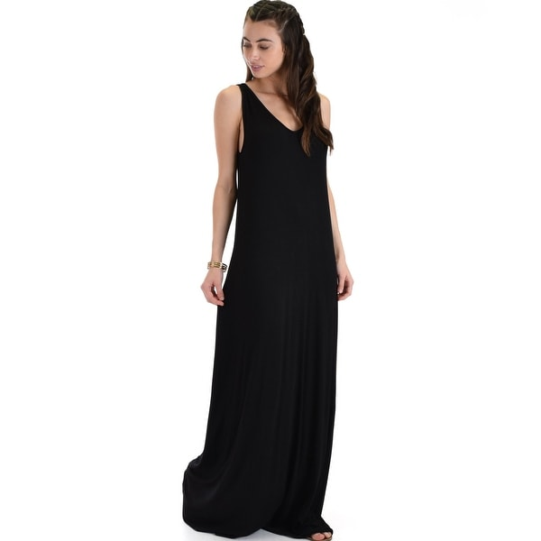 Shop Lost In Paradise Sleeveless Deep V Neck Black Shift Maxi Dress