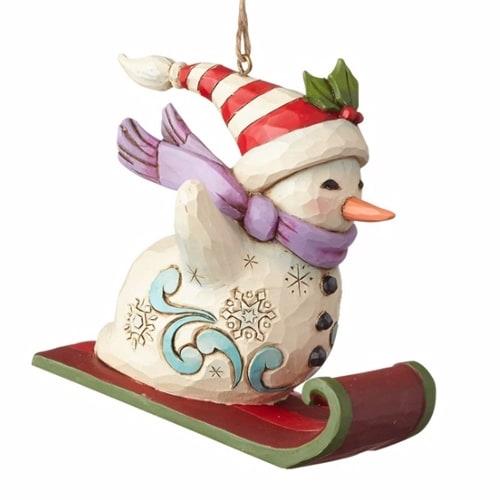 Snowman Sledding Ornament