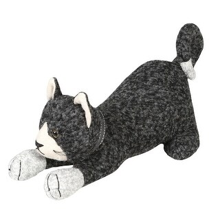 Pouncing Cat Doorstop - Wool and Polyester - Weighted with Sand - 6.5 in. x 15 in.
