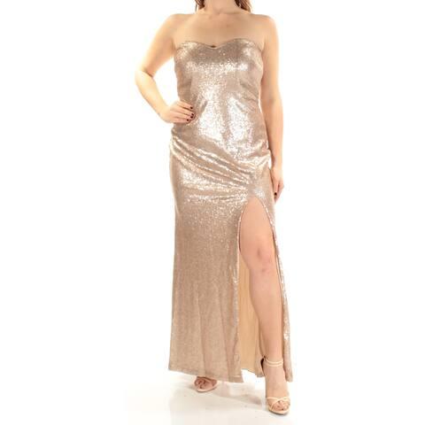 TEEZE ME Womens Gold Slitted Sequined Sleeveless Sweetheart Neckline Full Length Sheath Prom Dress Juniors Size: 9