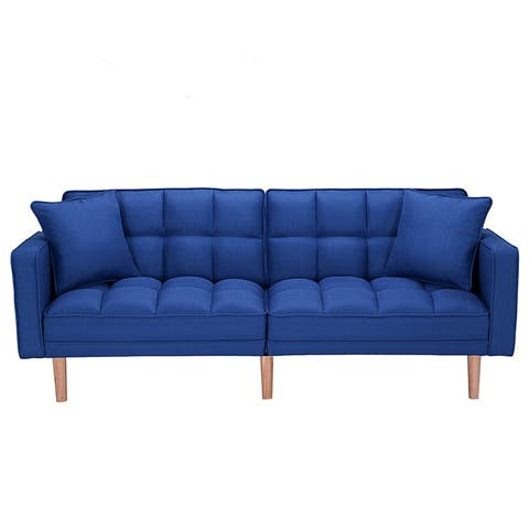 Moda Futon Sofa Bed Sleeper Dark Blue Linen Fabric
