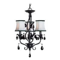 Woodbridge Lighting 12155-BLK 3 Light Up Light Single Tier Chandelier from the Avigneau Collection - Black