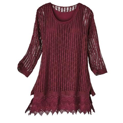 Kaktus Sportswear Women's Pointelle Sweater With Lace Extender Set