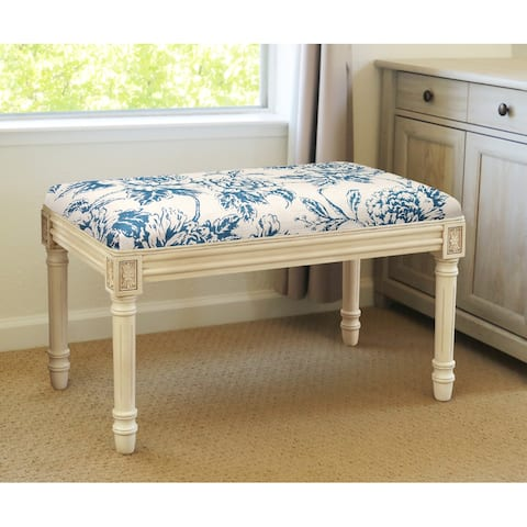 Navy Penoy Bench with Antique White Finish
