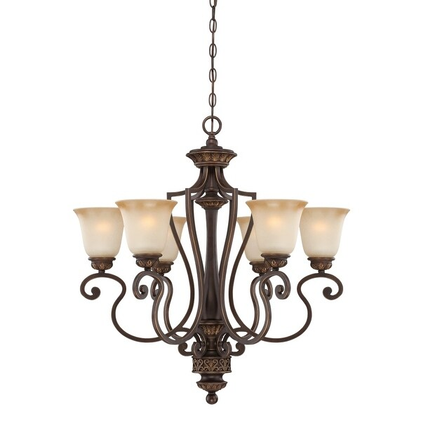 Jeremiah Lighting 28226 Josephine Single Tier 6 Light Chandelier - 28 Inches Wide - aged bronze/gold
