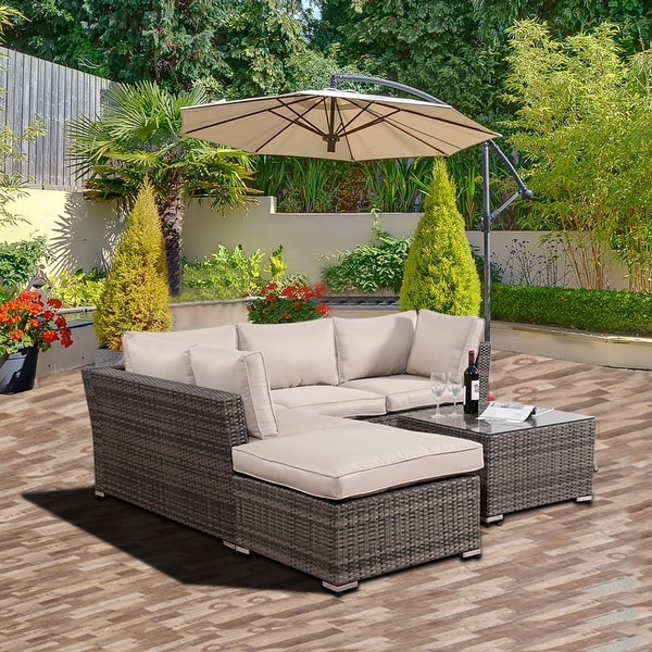 Kinwell 4 Piece Outdoor Patio Furniture Set Pe Wicker Sectional Sofa Set Removable Cushions Beige Overstock 31684570