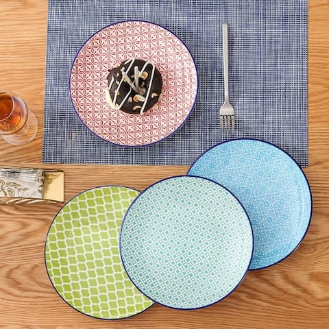 vancasso Macaron 4-Piece Hand-Painted Multi-Color Dinner Plates