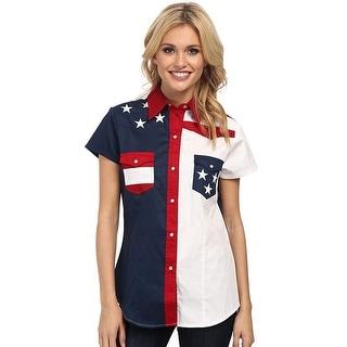 Roper Western Shirt Womens S/S American Blue 03-051-0185-0304 BU