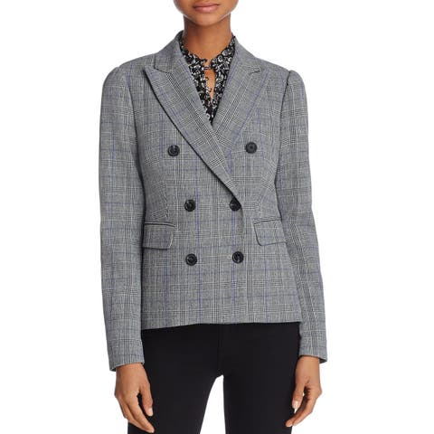 Rebecca Taylor Gray Women's Size 2 Plaid Double Breasted Blazer