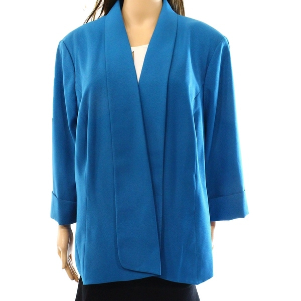 786b8a7f Shop Kasper NEW Pacific Blue Womens Size 14W Plus Open Front Cuffed Jacket  - Free Shipping On Orders Over $45 - Overstock - 17442000
