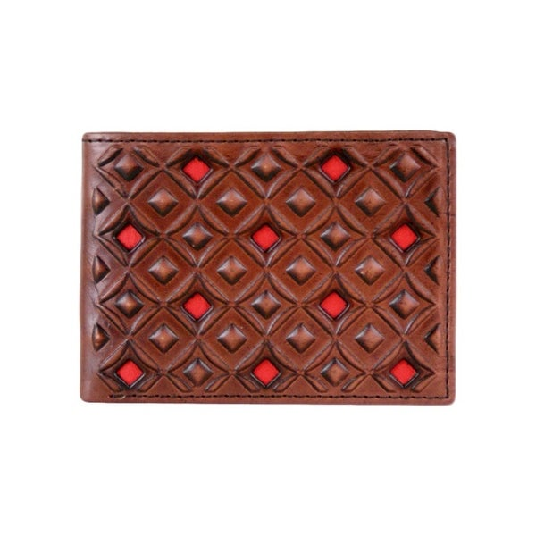 HOOey Western Wallet Mens Diamond Signature Bifold Brown Red - 4 x 3/4 x 3