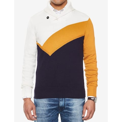 afce04ba Sean John Blue Mens Size Large L Abstract Print Shawl Collar Sweater