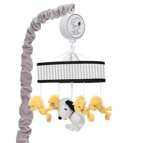 Lambs & Ivy Classic Snoopy Musical Baby Crib Mobile Soother Toy - Black/Yellow