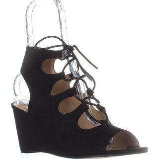 AR35 Suriya Lace-Up Wedge Sandals, Black
