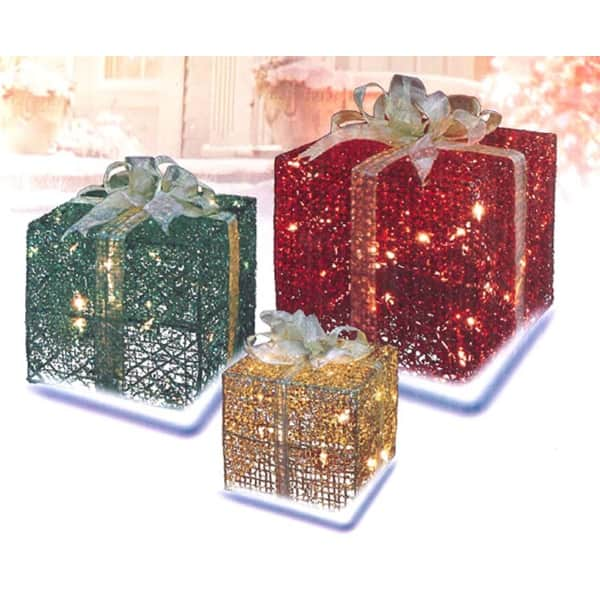 Lighted Christmas Boxes Decoration.3 Piece Glittering Gift Box Lighted Christmas Yard Art Decoration Set