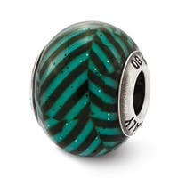 Italian Sterling Silver Reflections Teal Stripes with Glitter Glass Bead (4mm Diameter Hole)