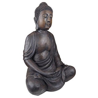 Design Toscano Meditative Buddha of the Grand Temple: Dark Stone, Large