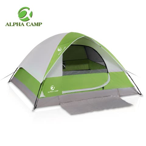 ALPHA CAMP 2~4 Person Camping Dome Tent, Lightweight Waterproof Portable Backpacking Tent for Outdoor Camping/Hiking