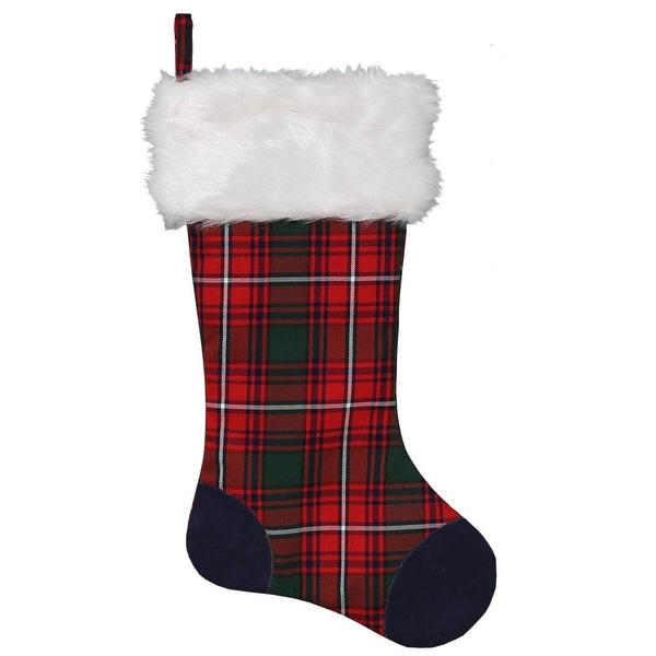 "20"" Red, Green,Blue and White Plaid Christmas stocking with Blue Faux Suede Patches and Plush Cuff - green"