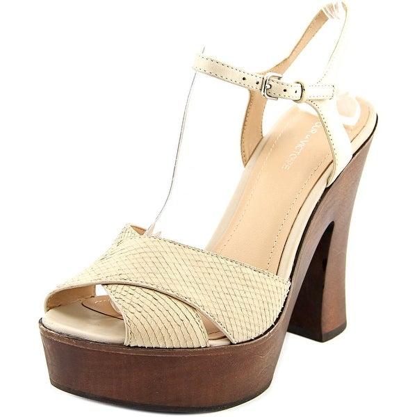 Pour La Victoire Dakota Women Open Toe Leather Ivory Platform Heel