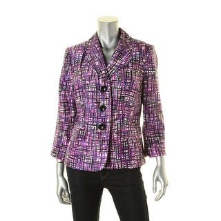 Le Suit Womens Quebec Three-Button Blazer Printed 3/4 Sleeves - 8