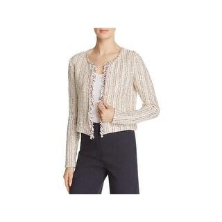 Theory Womens Galinne Cardigan Sweater Speckle Boucle Fringe