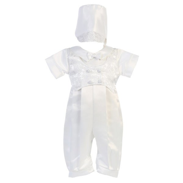 Baby Boys Jacquard Vest Satin Long Romper Baptism Christening Set 0-18M